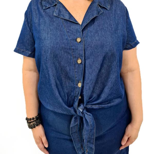 Camiseta Feminina Plus Com Amarração
